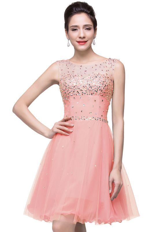Open-Back Sleeveless Crystal Short Homecoming Dresses