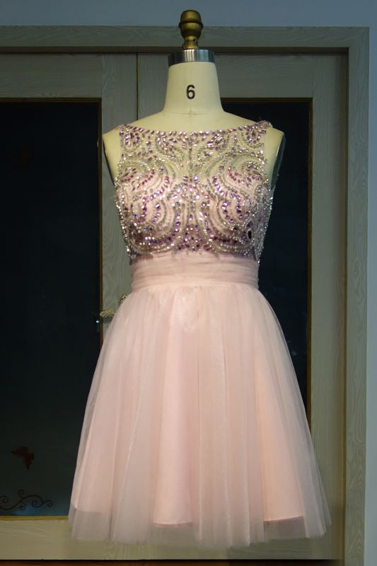 Brilliant Tulle A-Line Homecoming Dresses   Pink Scoop Sleeveless Beading Cocktail Dresses Open Back