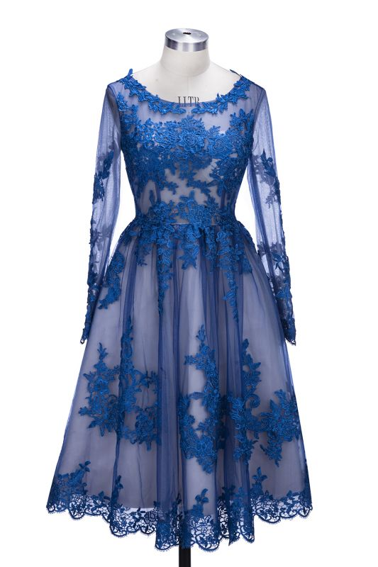 2021 Royal Blue Short Homecoming Dresses Long Sleeves Lace Cocktail Dresses