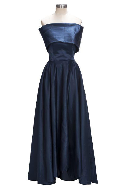 2021 Off the Shoulder Bridesmaid Dresses Hi-Lo Blue Simple Prom Dresses