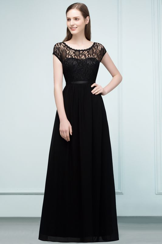 Lace Sleeves Short Floor-length Bridesmaid A-line Dresses with Sash