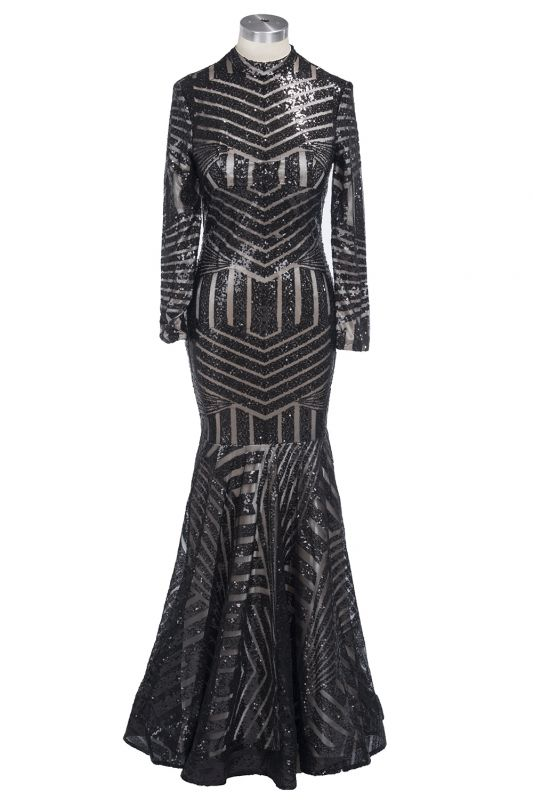 Sexy Black Mermaid High Neck Evening Gowns Long-Sleeves Sequined Prom Dress JJ0085