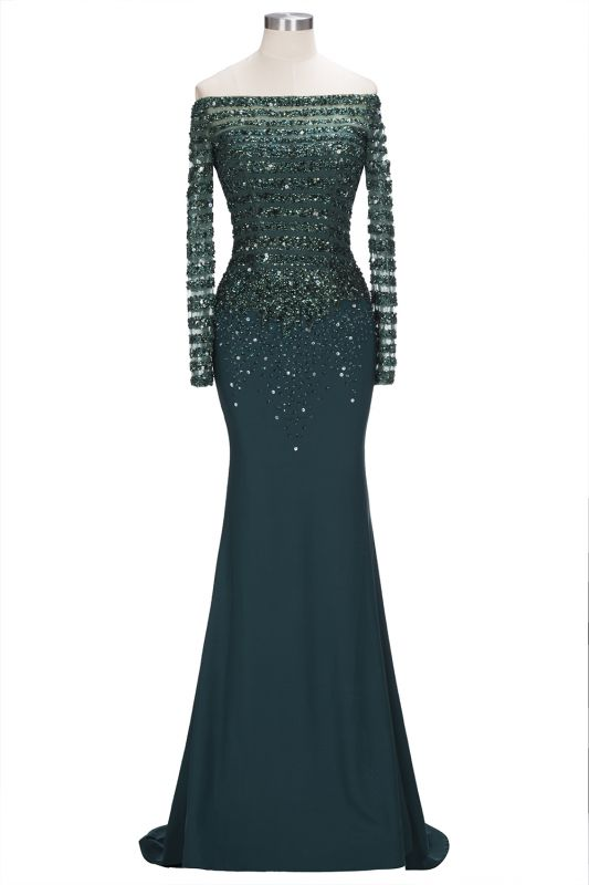 Sequins Long-Sleeves Dark-Green off-the-Shoulder Mermaid Evening Dress