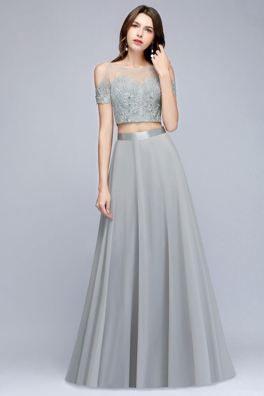 A-Line Appliques Silver Exquisite Chiffon Two-Pieces Bridesmaid Dresses