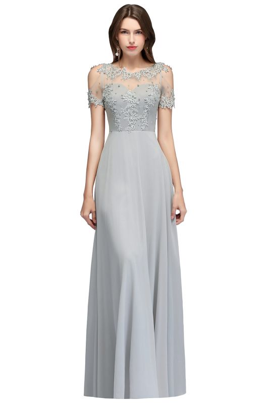 Appliques Scoop Cheap Cold-Shoulder Silver Beaded A-Line Bridesmaid Dresses