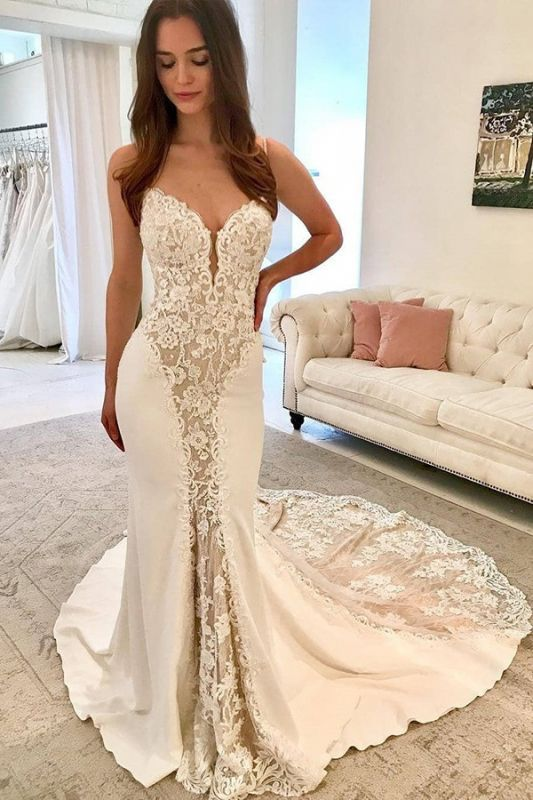 Charming Sleeveless Spaghetti Strap Wedding Dresses | Lace Mermaid Appliques Bridal Gowns