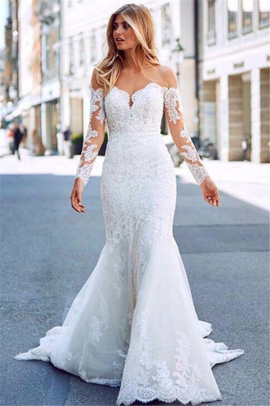 Elegant Long Sleeves White Lace Wedding Dresses | Mermaid  Appliques Floor Length Bridal Gowns