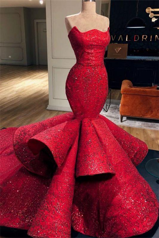 Luxurious Strapless  Sleeveless Wedding Dresses | Crystals Mermaid Ruffles Bridal Gowns