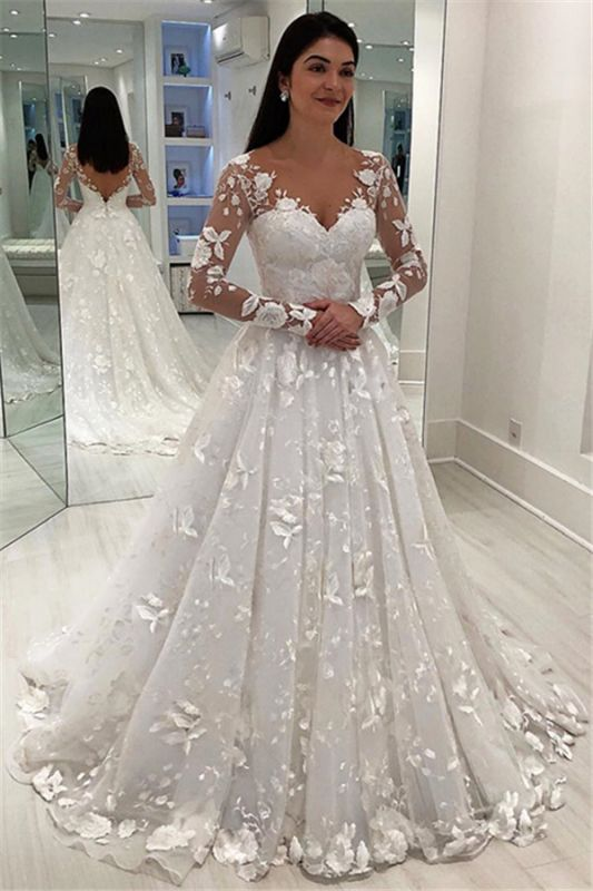 Glamorous V-Neck Long Sleeves Wedding Dresses   A-Line Appliques Long Bridal Gowns