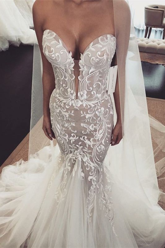 Gorgeous Sleeveless Sweetheart Wedding Dresses | Lace Appliques Tulle Bridal Gowns