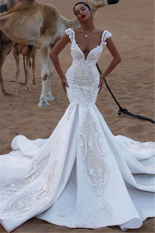 Luxurious V-Neck Cap Sleeves Wedding Dresses | Mermaid Appliques Sweep Train Bridal Gowns