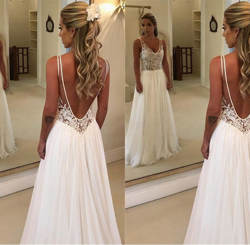 Gorgeous Sleeveless Backless Wedding Dress | Chiffon Appliques A-Line Bridal Gowns