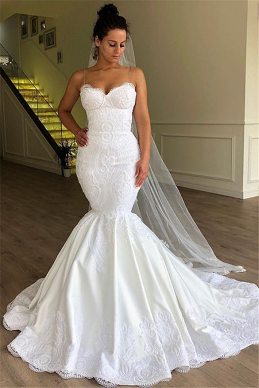 Modest Spaghetti-Strap Sleeveless Bridal Gownns | Mermaid Long 2021 White Wedding Dresses BC1956
