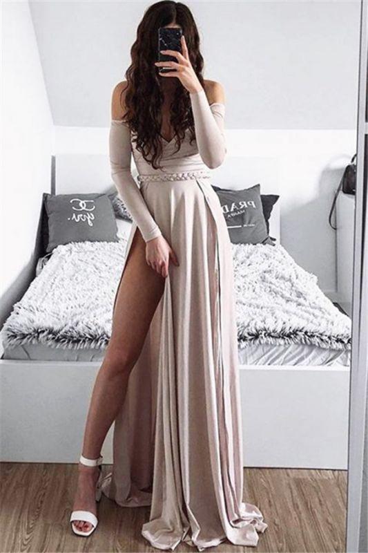 Elegant Off-The-Shoulder A-Line Prom Dress   Side-Slit 2021 Ruffles Evening Gowns