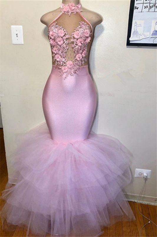 Charming Sleeveless Halter Mermaid Appliques Prom Dress | Flower Tulle Pink 2021 Evening Dresses BC3986