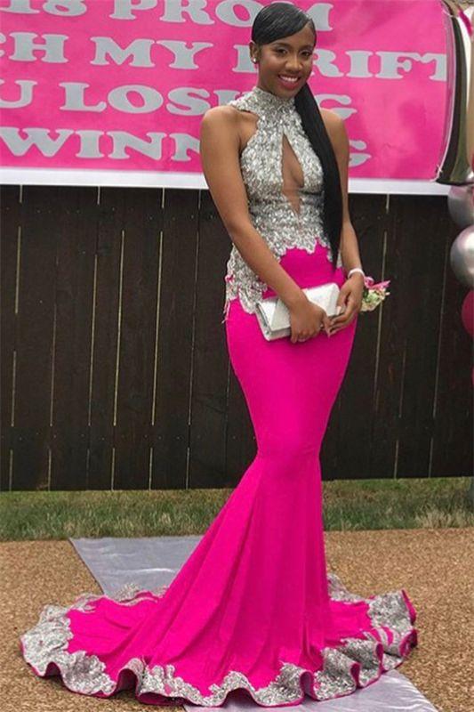 Sexy High-Neck Sleeveless Prom Dress | Mermaid Applique Backless Evening Dresses