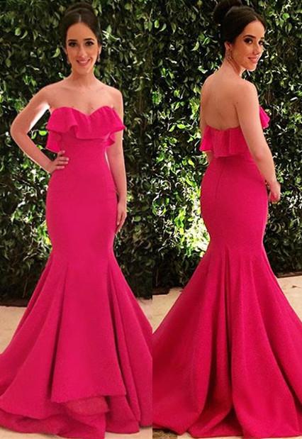 Glamorous Strapless Sleeveless  Prom Dress | Ruffle Mermaid Long Evening Gowns