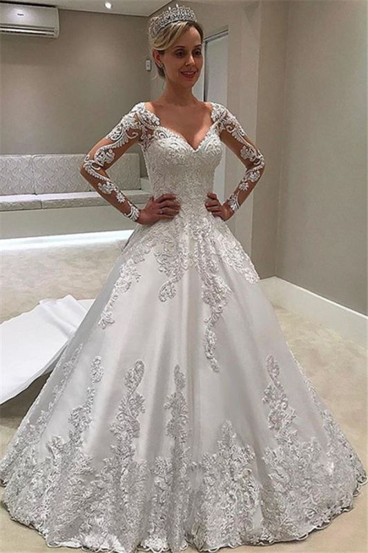 Appliques Elegant Long-Sleeves Ball-Gown Bridal Gown