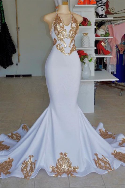 Elegant Halter V-Neck Prom Dress |  Gold Appliques  Sleeveless Evening Gowns BC2178