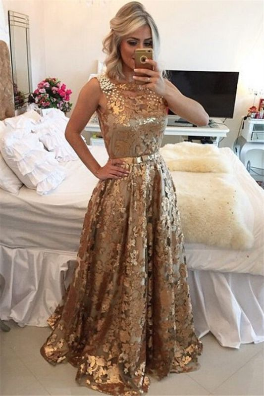 Gorgeous Sleeveless Beaded Prom Dress   Gold Sequins Evening Dresses on Sale