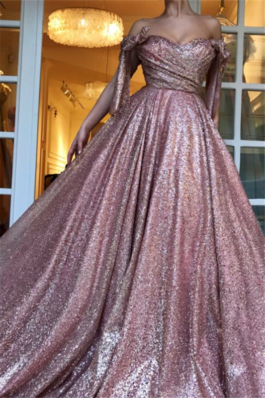 Charming Off-The-Shoulder Sequins  Evening Dress | Ball Gown Ruffles 2021 Prom Dresses
