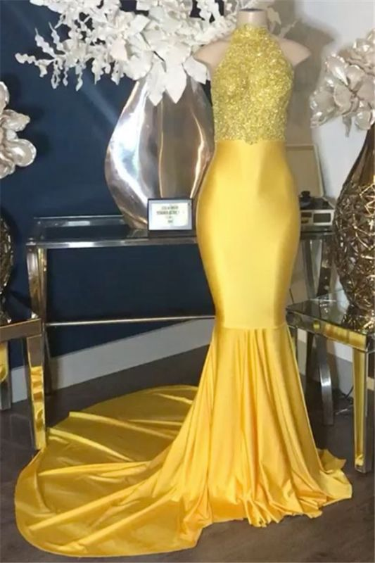 Sparkly High-Neck Sleeveless Prom Gowns | Gold Mermaid Ruffles 2021 Evening Dresses