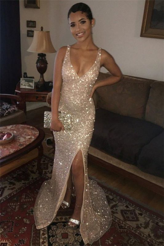 Sequins Side-Slit Mermaid Shiny Straps Prom Dresses