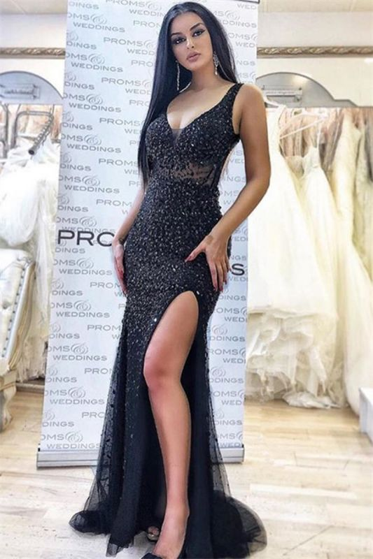 Brilliant Sleeveless V-Neck Prom Dresses | Mermaid Beading Side-Slit Evening Dresses