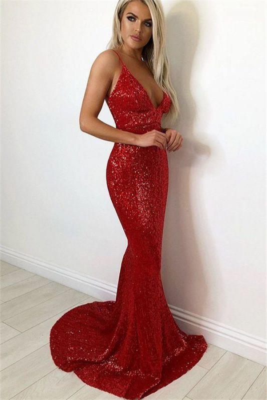 Spaghetti-Straps Mermaid Burgundy Shiny Prom Dresses