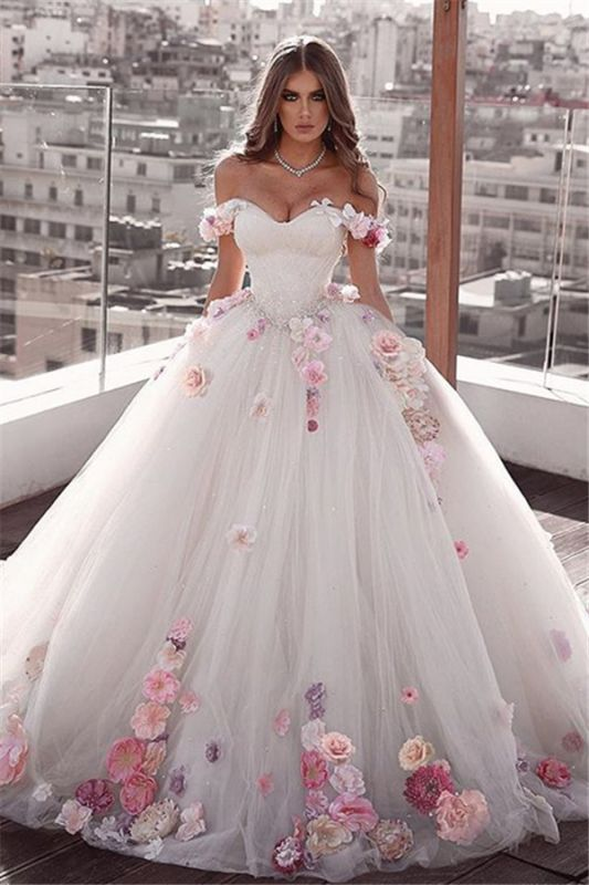 Off-the-shoulder Glamorous Weeding Flowers A-Line Dresses