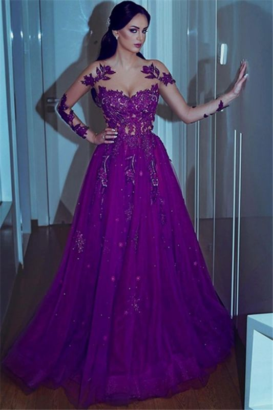 Mermaid Long-sleeves Appliques A-line Sweetheart Prom Dresses
