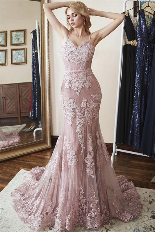 Lace Spaghetti-Straps Elegant Mermaid Prom Dresses