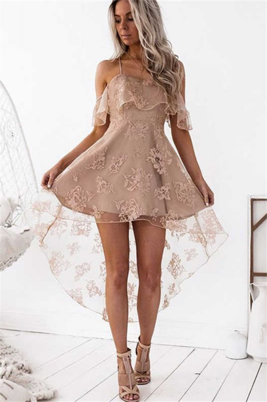 Cute A-line Hight-low Short Lace Homecoming Dress
