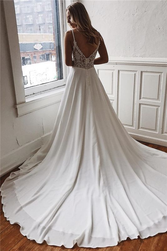 Charming Sweep-Train Lace A-line White Wedding Dresses   Spaghetti-Straps 2021 Wedding Gowns