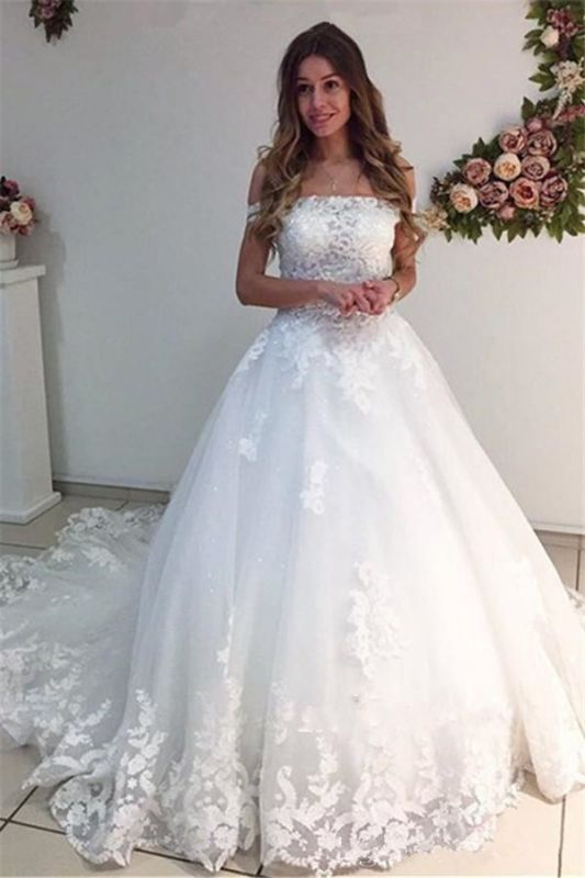 White Ball Gown Wedding Dresses | Off-the-Shoulder Puffy Bridal Gowns