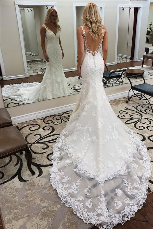 Backless Sleeveless Appliques Sheath Alluring Ivory Wedding Dresses | Chapel-Train V-neck Wedding Gowns