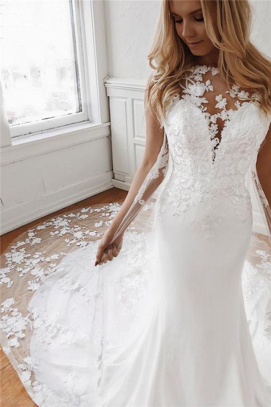 Jewel Sheath Sleeveless Glamorous Appliques Wedding Dresses | Cathedral-Train 2021 Wedding Gowns