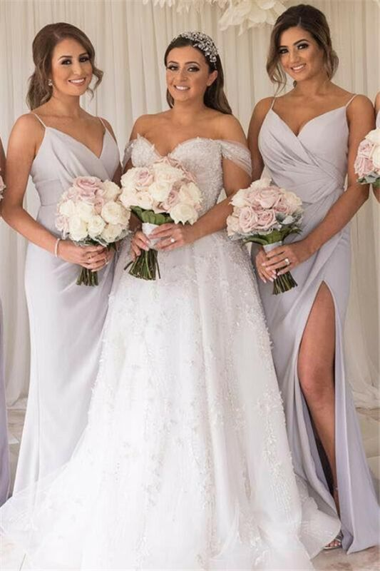 Floor-Length Sheath Sleeveless Spaghetti-Straps Bridesmaid Dresses | Side-Split Alluring 2021 Bridesmaid Gowns