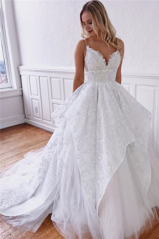 A-line Spaghetti-Straps Charming Wedding Dresses   White Backless Wedding Gowns