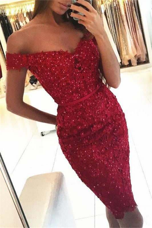 Beadings Short Sheath Red Off-the-Shoulder Sexy Appliques Homecoming Dress