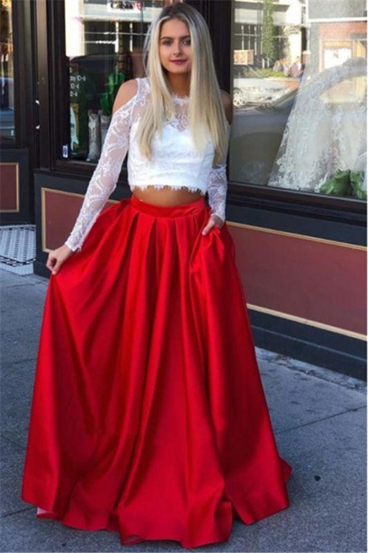 Jewel A-Line Two-Pieces Marvelous Prom Dresses | Cold-Shoulder Lace Evening Gowns