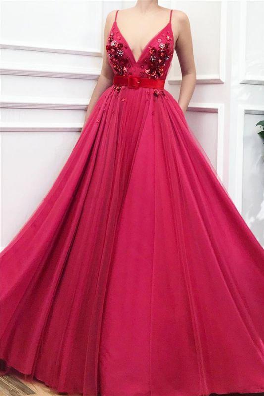 Sexy Spaghetti Strap V Neck Crystal Sequin Sash A Line Prom Dresses