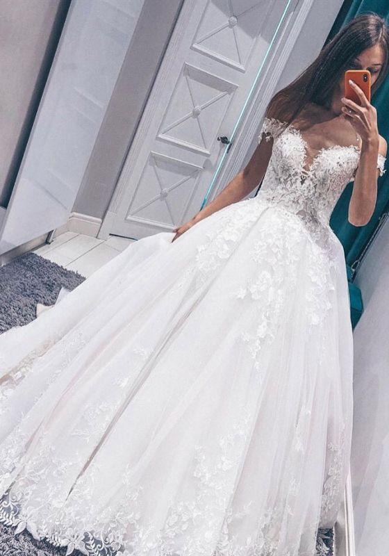 Fascinating Appliques Off-the-shoulder Lace A-line Wedding Dresses
