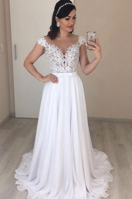 Lace Jewel A-line Cap-Sleeves Excellent Appliques Wedding Dresses
