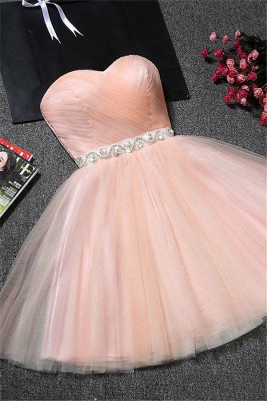 Sweetheart A-Line Ruffles Simple Short Crystal Short Homecoming Dresses