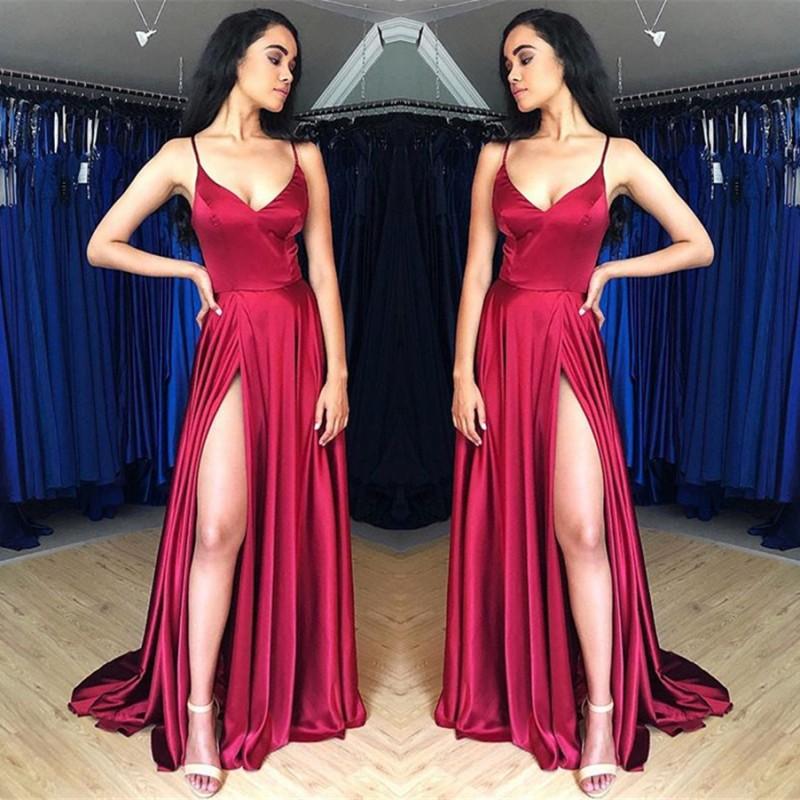 Sweep-Train Spaghetti-Straps Beautiful Prom Dresses   Sheath Side-Split 2021 Evening Gowns