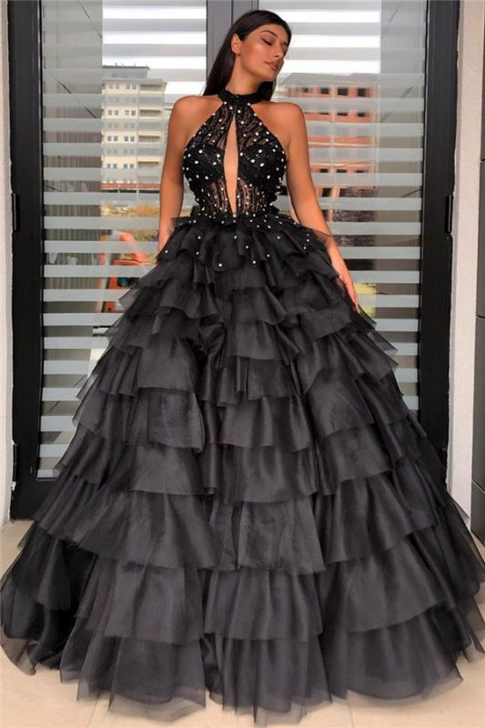 Halter Sleeveless Graceful Ball-gown Beaded Prom Dress With-tiered
