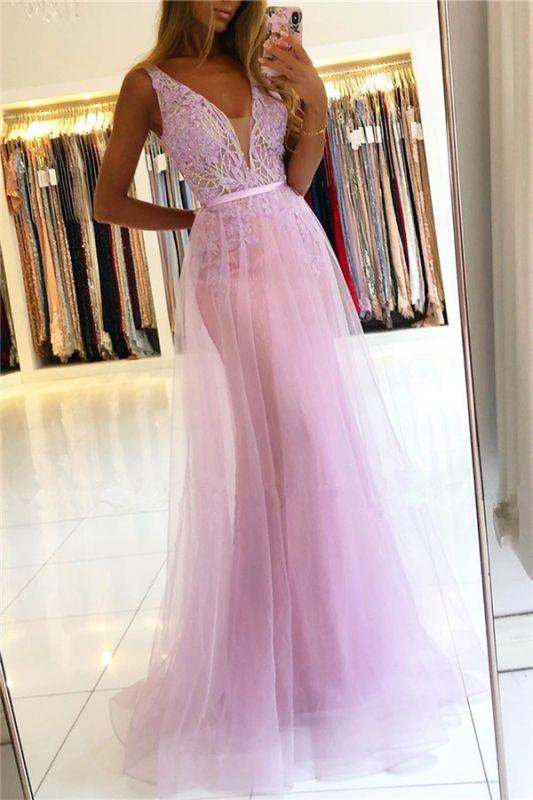 Beaded Floor-length Sheath Straps V-neck Applique Prom Dresses