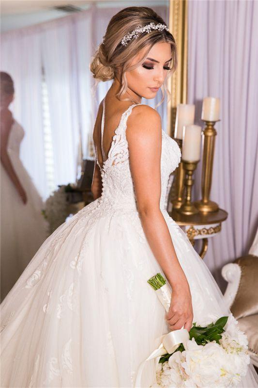 Beading Applique Strap V-neck A-Line Gorgeous Wedding Dress