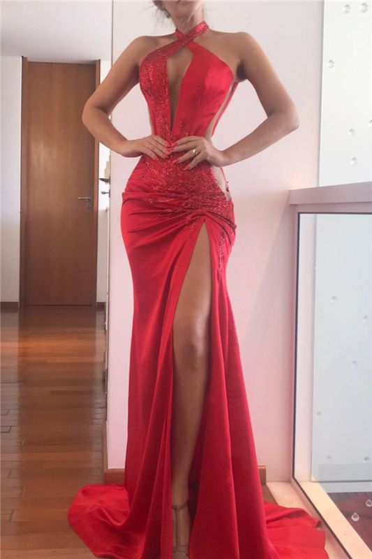 Sexy Halter Sheath Applique Slit Red Prom Dresses